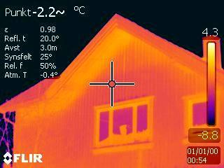 Bilde av hus med termografering - Byggmester og Takstmann Erik Laursen